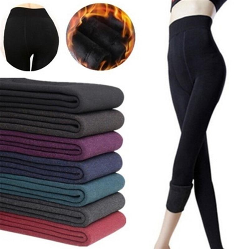 7 Colors Winter Plus Cashmere Leggings Woman Casual Warm Super Elastic Faux Velvet Knitted Thick Slim Leggings