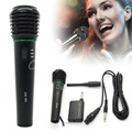 High Quality Black Professional Wired Wireless Handheld Microphone Mic With Receiver Transmitter Studio System