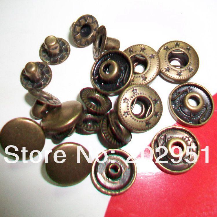 europäischen Qualitätsstandard 100 Sets Antike Bronze Metall Druckknöpfe Verschluss Großhandel Der-freeshipping 1,2 Cm Für Beutel