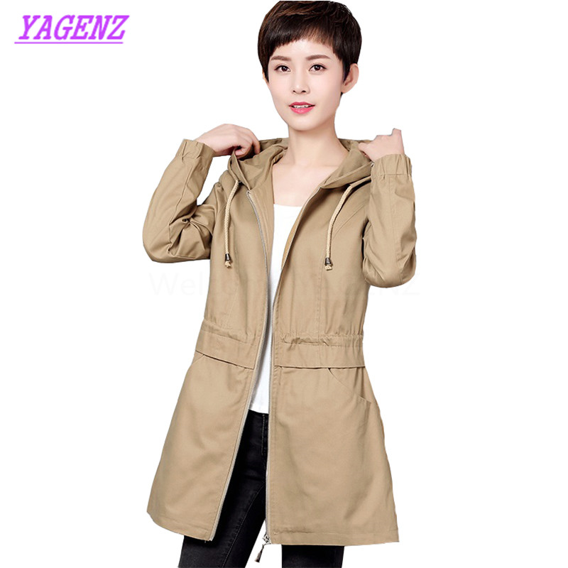Plus size M-6XL 2017 Autumn Winter Windbreaker coat Women Fashion Slim Long   Trench   coat Young Women Khaki Hooded Overcoat B291