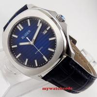 블리거 그라데이션 네이비 블루 다이얼 40mm 날짜 표시 사파이어 자동식 남성 시계 224 기계식 시계    -
