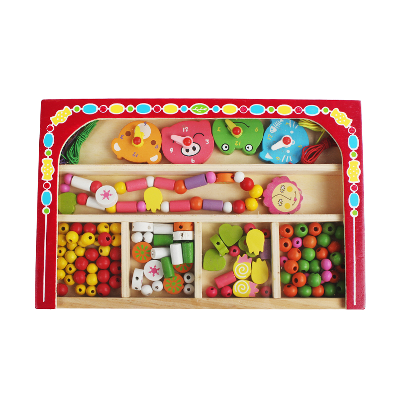 Free Delivery,Cartoon Wooden Decorations Toy,Beads And Sawing Toys,Watch Necklace,140, Children's Jewelery Making Utilities Toy