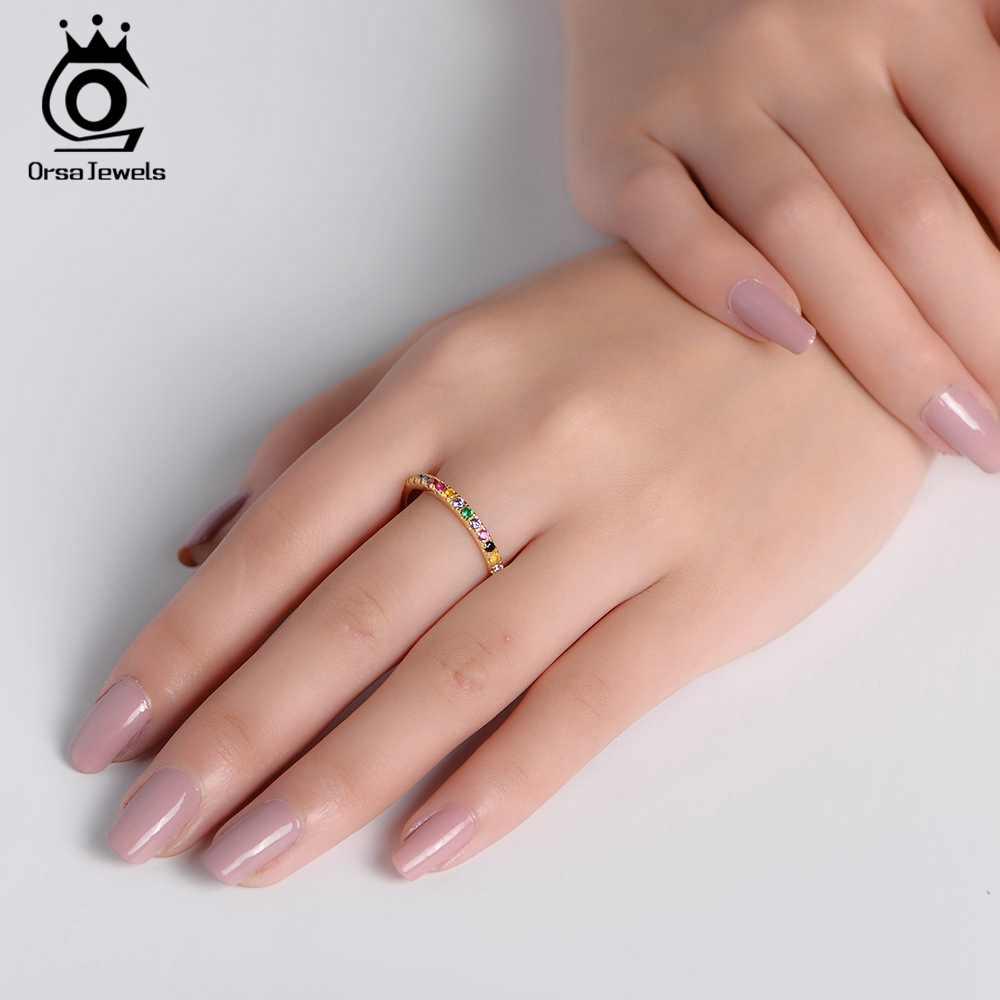ORSA JEWELS Solid 925 เงินสเตอร์ลิงแหวนผู้หญิงอุปกรณ์เสริมฝังที่มีสีสันแหวน Zircon S925 เงินเครื่องประดับ OSR63