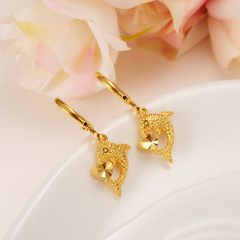 Bangrui Dolphin Gold Color Copper Earring Women/Gril Gift Lovely Cute Animal Charm Jewelry
