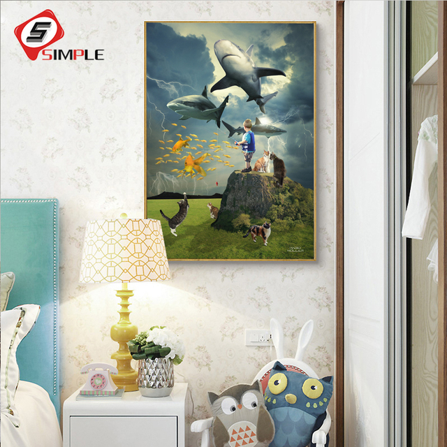 1 Panel Sea World Canvas Painting Kids Animal Poster Prints Wall Art For Baby Room