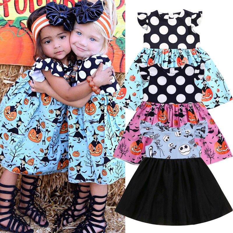 Toddler Baby Girl Cartoon Pumpkin Print Dress Halloween Costume Kids Outfits