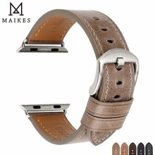MAIKES Genuine Leather Watch Strap Replacement For Apple Watch Band 42mm 38mm / 44mm 40mm Series 4 3 2 1 iWatch Watchbands tjp series 2 1 genuine brown vintage italy calf leather watchbands strap for apple watch iwatch 38mm 42mm wristband with adapter