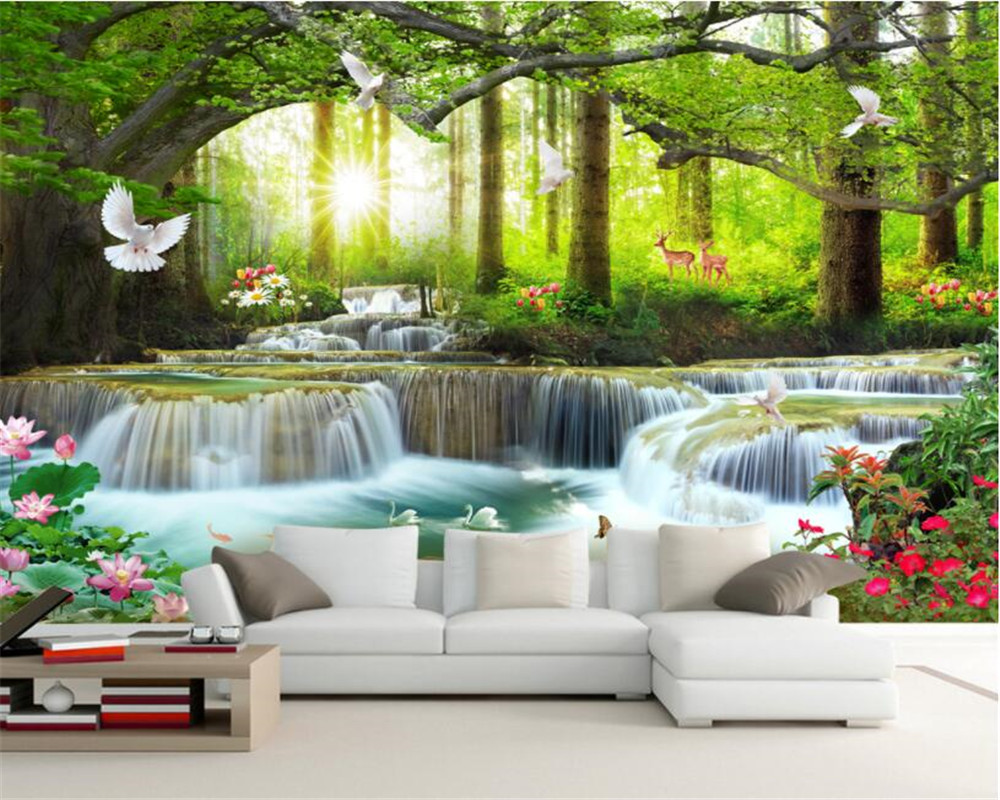 Us 885 41 Offbeibehang Custom Wallpaper Mural Nature Landscape Green Big Tree Forest Waterfall Landscape Background Wall 3d Wallpaper Tapety In