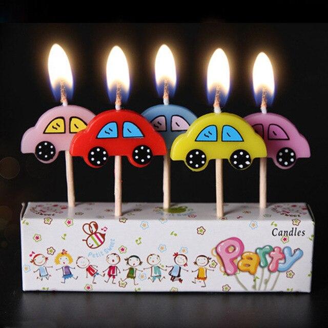 5 Pcs Set Car Taxi Bus Design Kids Birthday Cake Cupcake Toppers