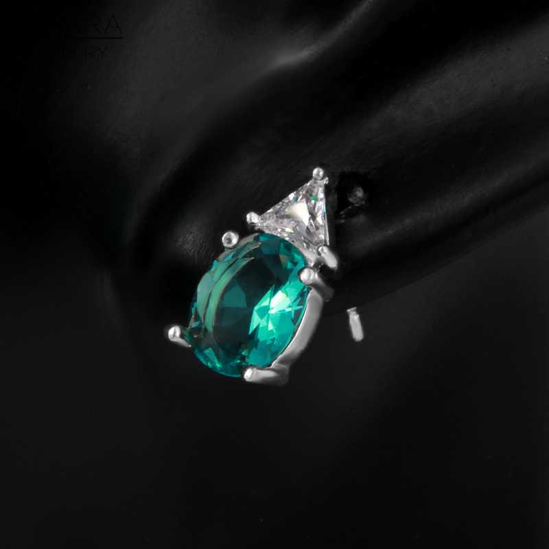 FYSARA Summer Style Blue Green Created Gemstone Geometry Female Earrings Classic Luxury Jewelry Crystals Love Earrings Wholesale