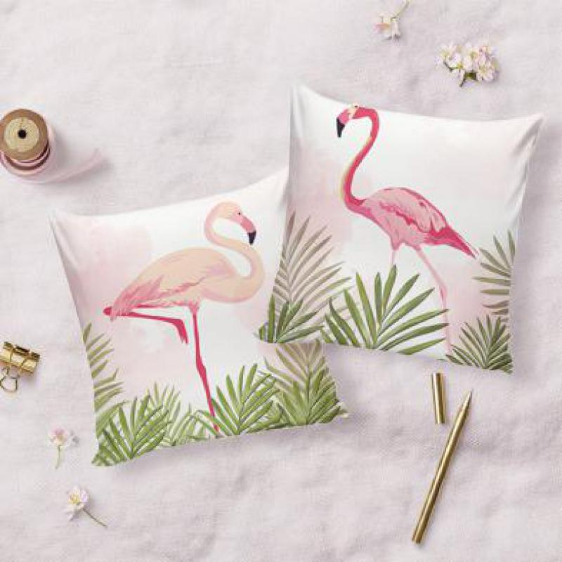 Nordic Style Home Decoration Pink Flamingo Pillow Summer