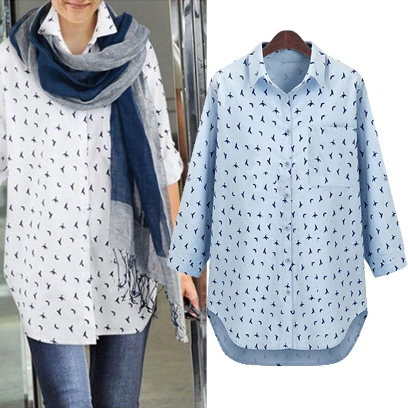 Online Shop Plus size women's long sleeve shirts new Europe long ...