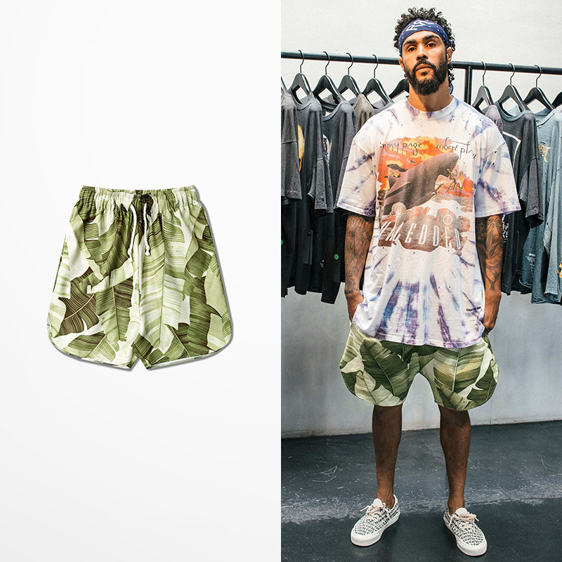 High Street Green Leaf Print Summer Men Shorts Side Opening Leisure Lovers Couple Men Beach Short Pants Hip Hop Kanye Shorts Men