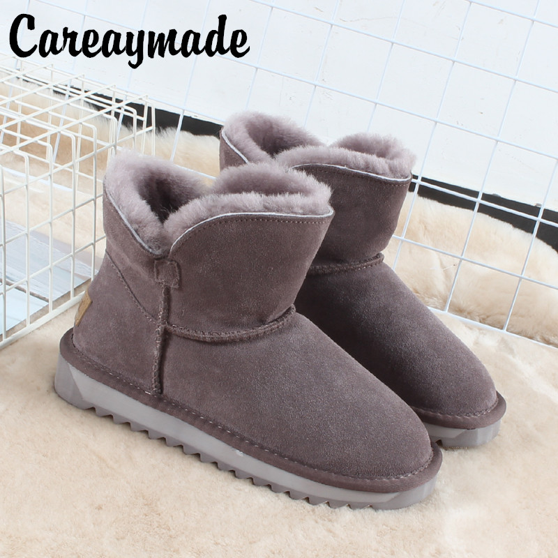 Careaymade-2019 New leather wool snow boots, women's fur short tube thickened winter boots, women's boots,Non-slip boots