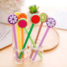 48pcs/pack Fruit Lollipop Gel Pen Korea Stationery Creative Cartoon Orange Watermelon Kiwi School Prize Promotion Gift