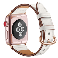 Pink White Genuine Leather Watchband Strap For Apple Watch Women Elegant New Design Wrist Bracelet Strap 38mm 40mm 42mm 44mm