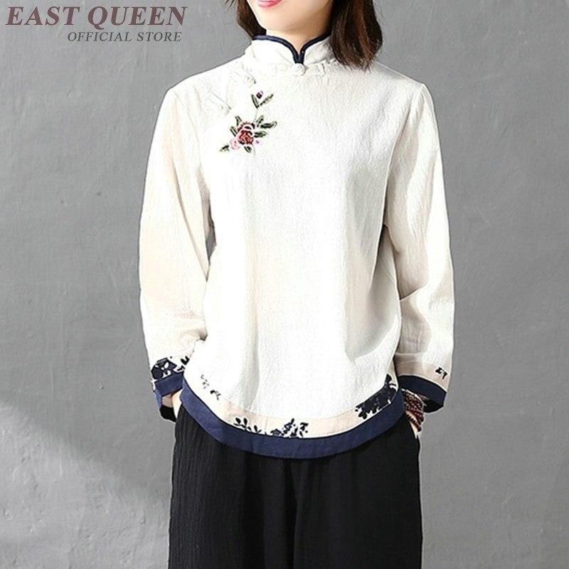 Traditional Chinese Blouse Shirt Tops For Women Mandarin Collar Oriental Linen Shirt Blouse Female Winter Cheongsam Top AA4148