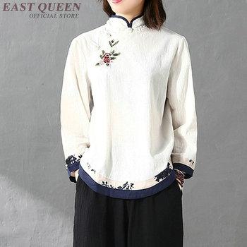 Tradycyjna chińska bluzka bluzki dla kobiet stójka orientalna koszula lniana bluzka damska zimowa top cheongsam AA4148 tanie i dobre opinie Topy Dzianiny WOMEN EASTQUEEN COTTON Linen