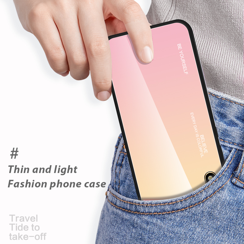 Image 4 - Gradient Tempered Glass Case For Huawei Y5 2019 Case Honor 8s Case Shockproof Glossy Cover for Huawei Y5 Prime 2018 Glass Cover-in Fitted Cases from Cellphones & Telecommunications