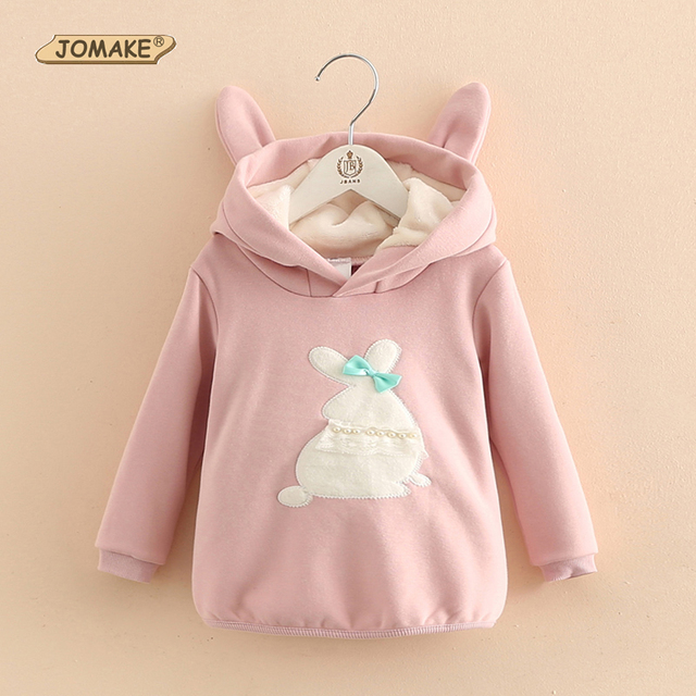 Autumn And Winter Toddler Children Sweatshirts Cute Cartoon Rabbit Girls Fleece Hoodies Loose Casual Hoodies Girl Coat Clothing