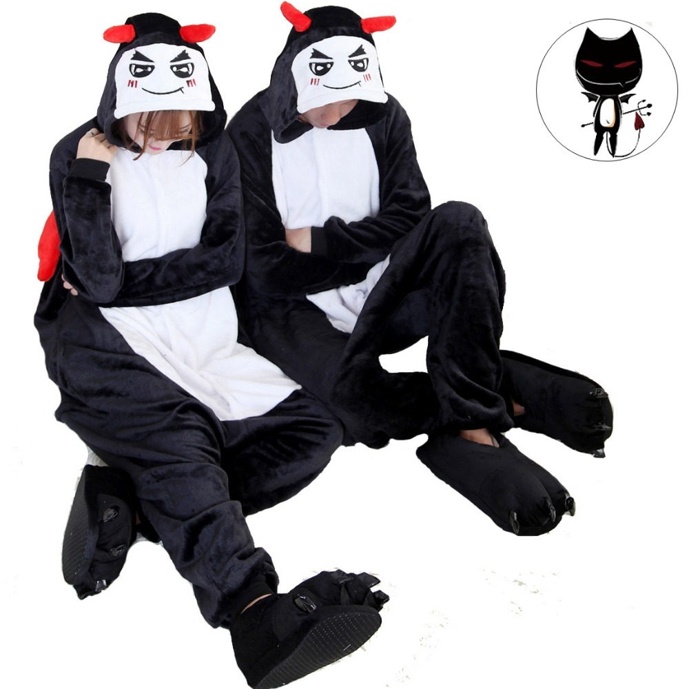 Cute Devil Demon Monster Cartoon Adult Homewear Costume Animal Pajamas Sleepwear Onesies Pajama For Women Men Couples Girls