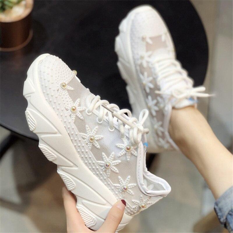 Nouvelle fleur strass femmes chaussures d'été à lacets femmes baskets plate-forme chaussures femme Air Mesh
