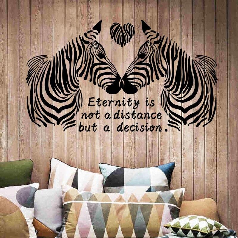 Nova Chegada Black white zebras do amor adesivos de parede para o quarto animais de decoração para o quarto casamento Decoração Da Casa 3d adesivo de parede