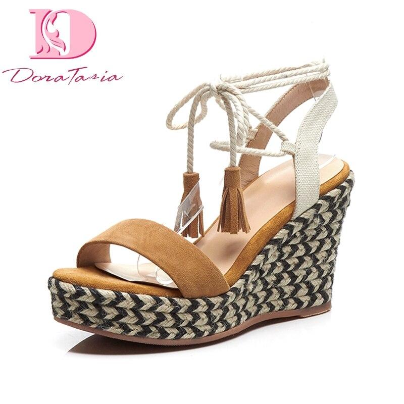 Forme Chaussures Sandales Croix D'été Femmes Frange Véritable Daim 2EHI9WD
