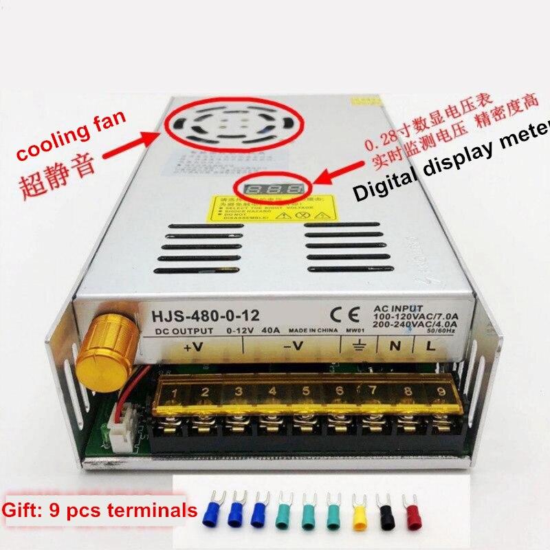 480W digital display switching power supply Adjustable voltage 0-5V 12V 24V 36V 48V 60v 80V 120v 220v, 24v 20A, 48V 10a-2