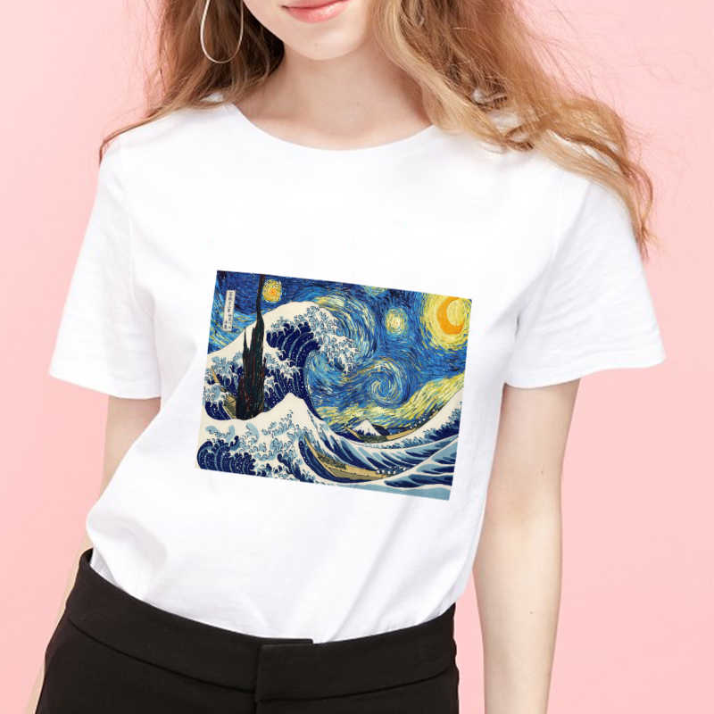 van gogh aesthetic Print Casual Harajuku Women T-Shirt Summer Short sleeve Casual Round neck Clothes Top Mode Femme plus size