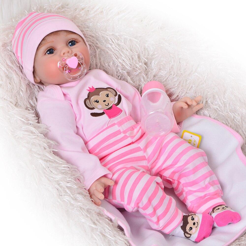 Handmade 22 Reborn Silicone Bonecas Soft Vinyl Cloth Body Reborn Baby Dolls Realistic Baby Girl Fashion