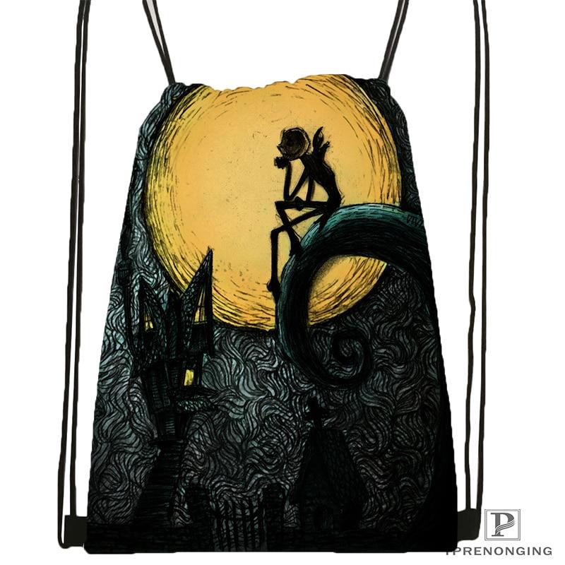 Custom Nightmare.before.Christmas Drawstring Backpack Bag Cute Daypack Kids Satchel (Black Back) 31x40cm#180531-03-27