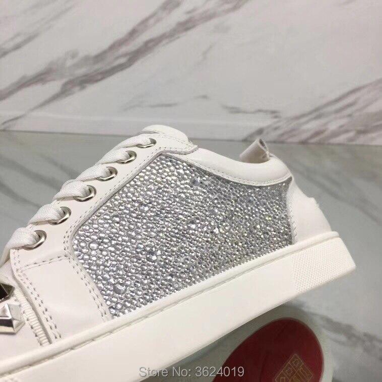 Zapatillas En Forma Cuero Remache Rojo Diamantes Blingbling 2018 Casuales Corte Zapatos Encaje Deporte Cl Blanco Bajo Imitación De Andgz Fondo vwZUqApz