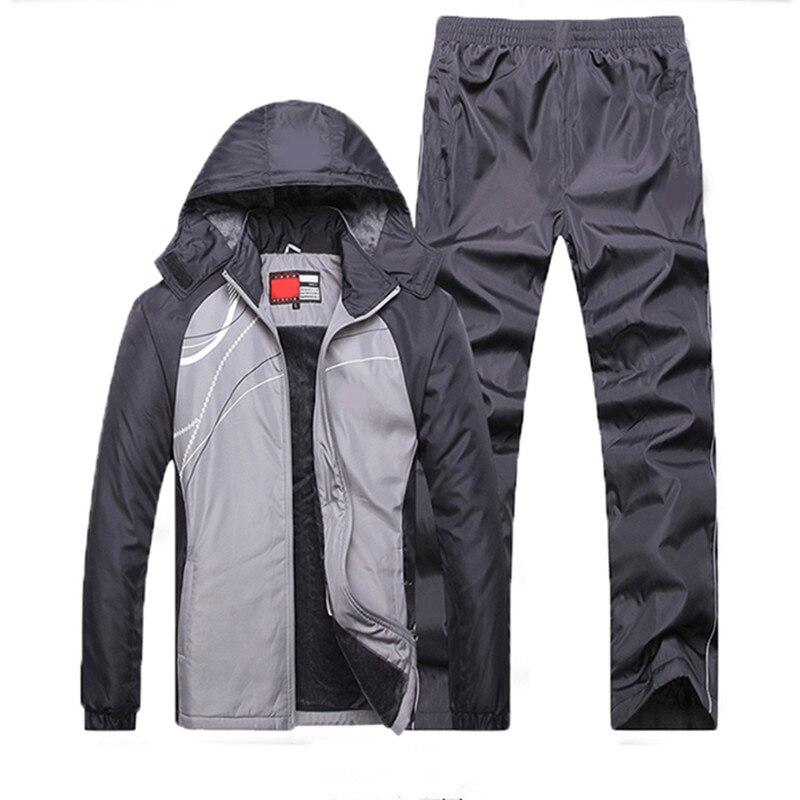 2019 nouveau Fitness survêtement chaud poche zippée costume décontracté vêtements pour hommes ensembles d'hiver Plus velours hommes Sport costumes ensemble de vêtements de Sport