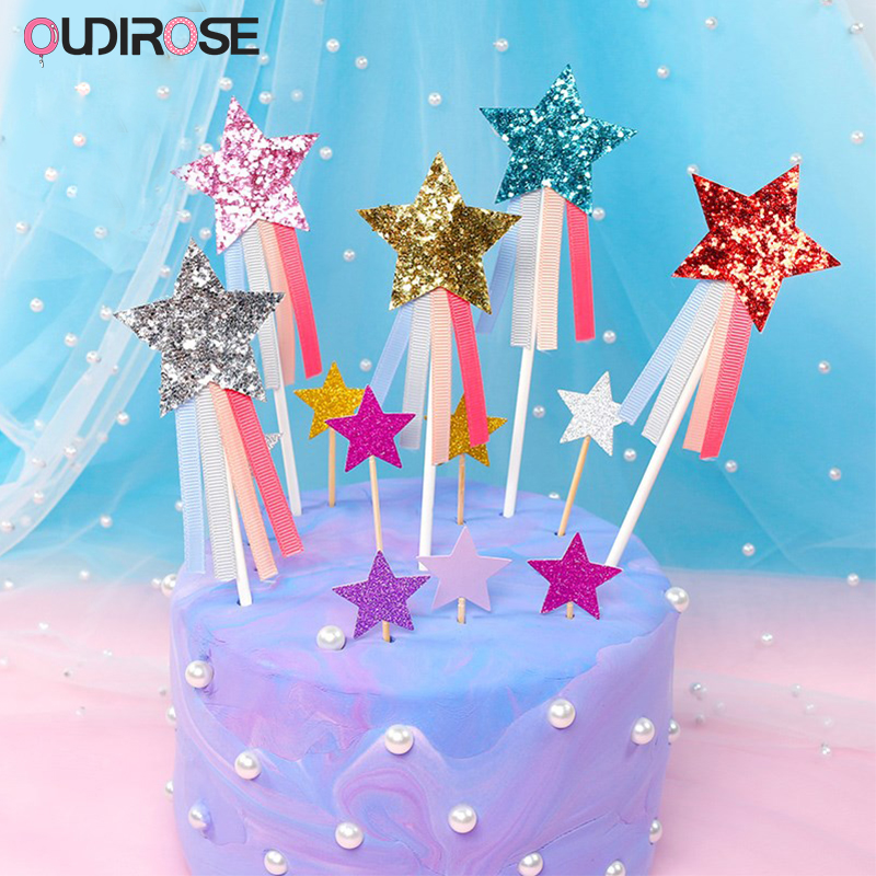 Kitchen, Dining & Bar 6x Unique Party Gold Stars Cake Topper