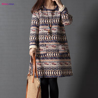 HANZANGL 2017 Autumn Winter Women Dress Loose Pullover Thickening Cotton Padded Vintage Casual Dresses