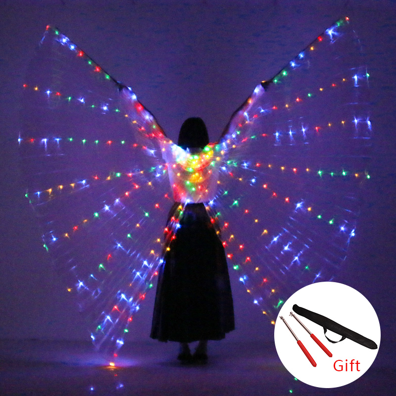 Belly Dance LED Wings Props 360 Degrees LED Shining Wings Girls Dance Wings Angle of Opening Dancer Props Wings With Sticks