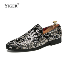 YIGER New Men loafers man Derby shoes large size slip-on mens Pointed flower Embroidered leather hoes nightclub 283