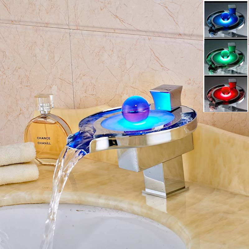 New Style Chrome Bathroom Sink Faucet LED Spout Crane Deck Mounted Basin Mixer Tap