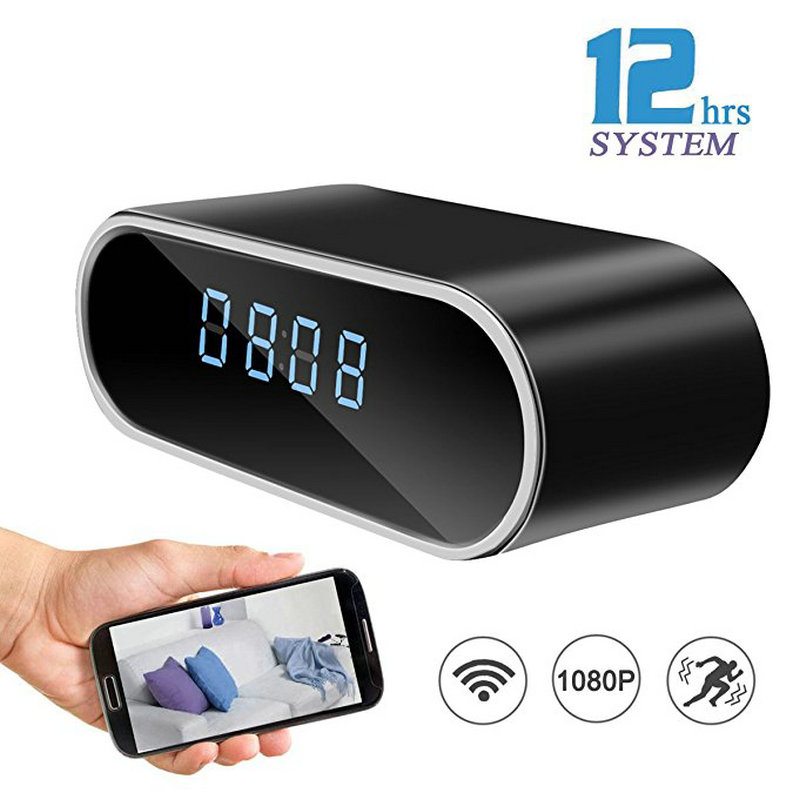 Table Clock Camera Alarm Setting HD 1080P Mini Camera IR Night Vision Wifi IP Clock Camera Mini DV DVR Camcorder Wifi Camera