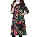 2016 New Arrive Winter Jacket Women Print Vintage Slim Cotton Thick Long Coat Women Down Parka Plus Size Outerwear Coats