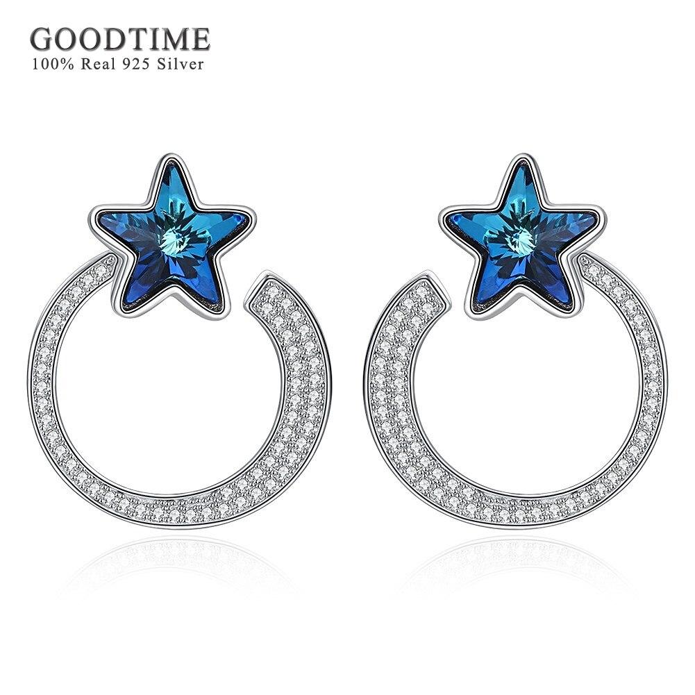 Luxury Austrian Crystal Real 925 Sterling Silver Earring Stud Blue Star Moon Earrings for Women Lady Jewelry Gift