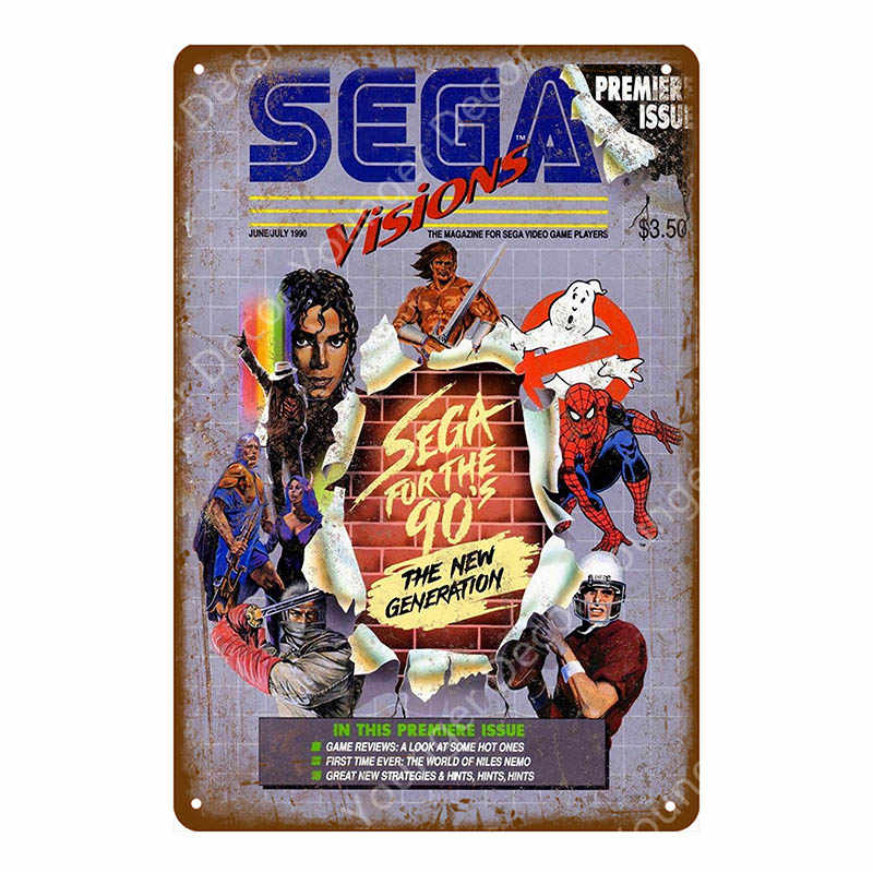 Video Game Poster Play Gaming Metal Tin Signs Gamer Wall Sticker For Pub Bar Club Home Room Decor Vintage Sega Genesis Plaque