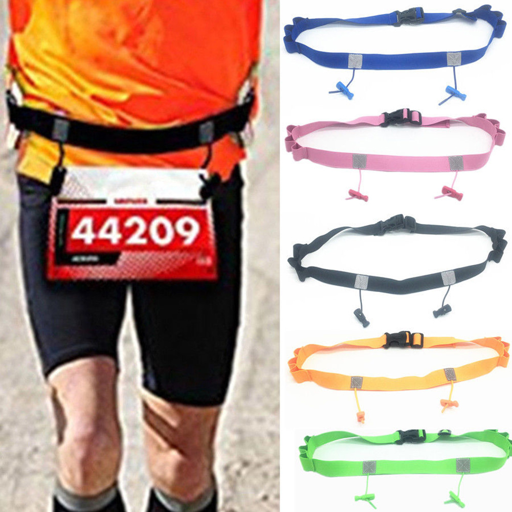 Running Race Holder Polyester Bib Cycling Waist Pack Sports Outdoor Motor Triathlon Reflective Number Belt Unisex