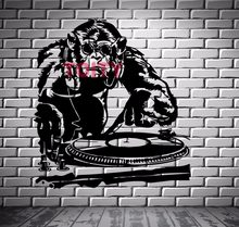 Music Monkey DJ Vinyl Wall Decal Sticker Club DJ Chimpanzee Gorilla Orangutan Art Decor Wall Mural Sticker Removable H62.5xW57CM(China)