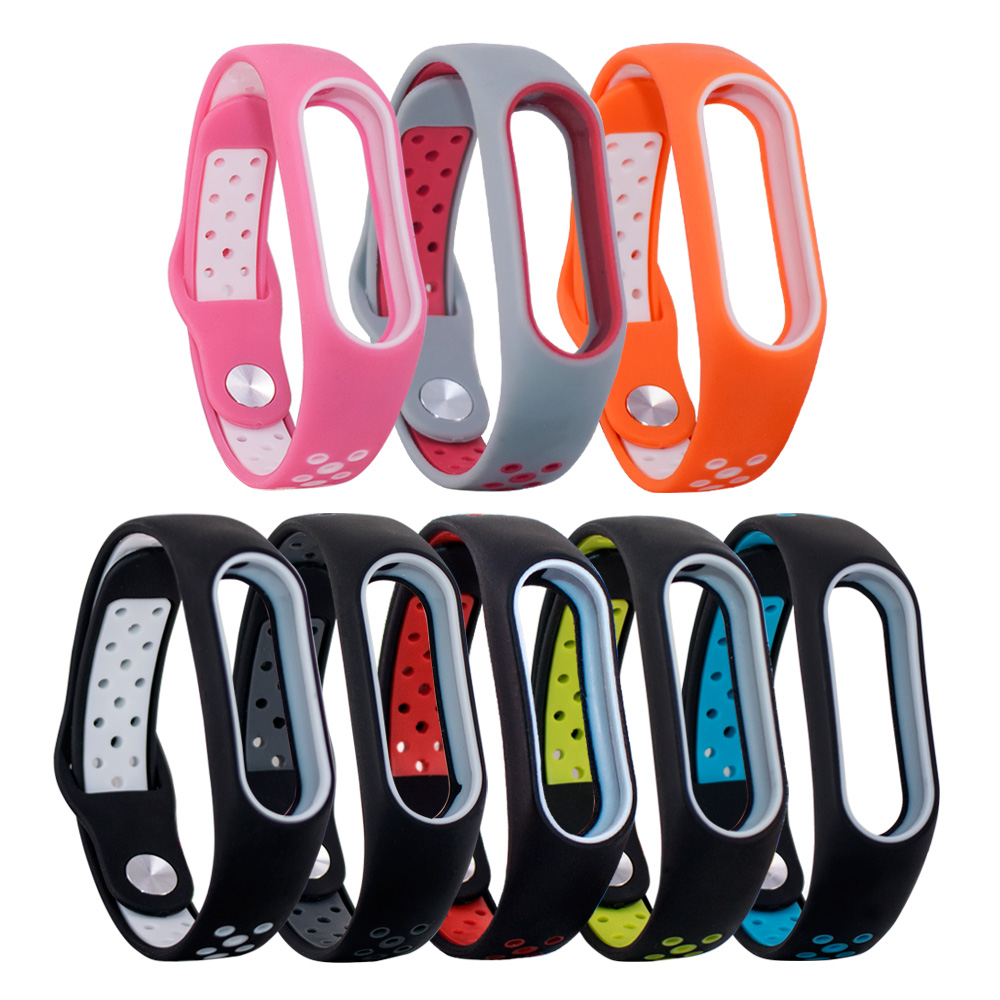Double Color Belt for Miband 2 strap Silicone Colorful Replacement wrist strap for xiaomi mi 2