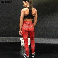 Maoxzon mujeres rojo Plaid sexy entrenamiento fitness Slim hip leggings estilo europeo y americano belleza gimnasio pantalones flacos elásticos