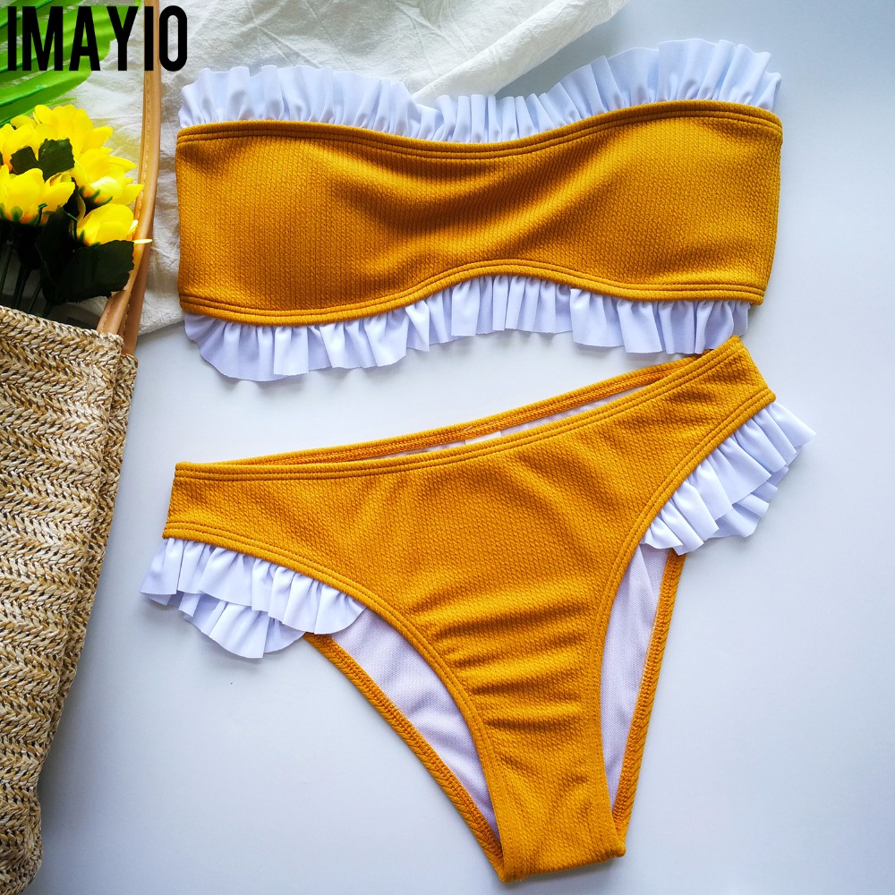 Imayio Bordered Bikini set 2019 ribbed bandeau bikinis women Patchwork floral swimsuit striped bathing suit  solid swimwear