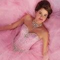 Puffy Vestidos Quinceanera rosa 16 Vestidos de strass com jaqueta espartilho Vestidos de marmelo anos 2016 do Vintage