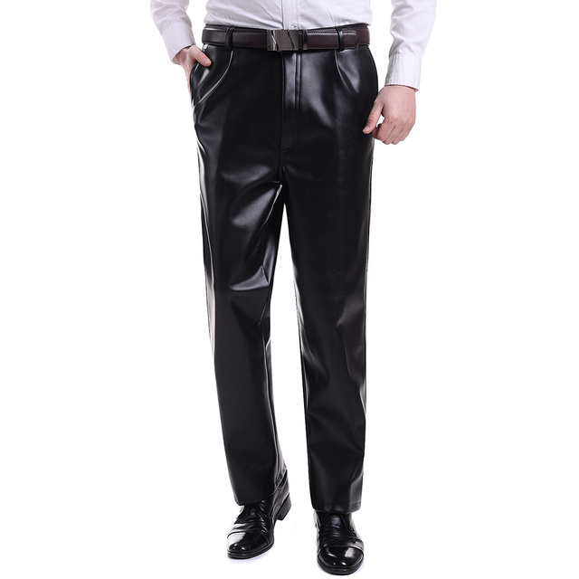 Mens Faux Leather Black Trousers Wet Look Vintage Motorcycle Biker Jeans Pants Winter Warm 903-329